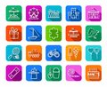 Children`s games and entertainment, icons, colored, flat, line, vector.