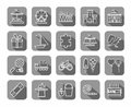 Children`s games and entertainment, icons, grey, flat, line, vector.
