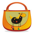 Children's  Hand bag with sewn applique Stock Image