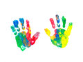 Children s hand prints colorful of a toddler Royalty Free Stock Images