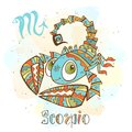 Children`s horoscope icon. Zodiac for kids. Scorpio sign . Vector. Astrological symbol as cartoon character.