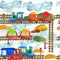 Children`s Illustration Railroad. Seamless Pattern With Transport.