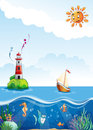 Children s illustration of sea with lighthouse sailing and fun fish Stock Photo