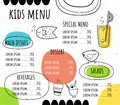 Children`s menu in a hand-drawn style. Cute fish, chicken, lemonade and sweets