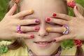 Children`s multicolored manicure. Royalty Free Stock Photo