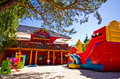 Children s play area outside hotel in poland Royalty Free Stock Images