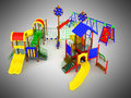Children`s play complex 3d render on gray background