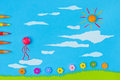 Children s play walking on clouds figurative persons blue sky and green grass background Royalty Free Stock Photos