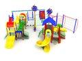 Children`s playground concept red yellow blue green 3d render on