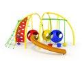 Children's playground mesh slide balls red blue green 3d render Royalty Free Stock Photo