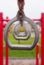 Children`s Playground Metal Still Rings Royalty Free Stock Photo