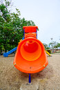 Children s playground orange isolated on white outdoor Stock Photography