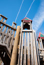 Children s playground with play structure park wooden Royalty Free Stock Images