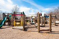 Children s playground with play structure park wooden slide Stock Photos