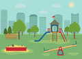 Children`s playground with swings, a slide, a sandpit.