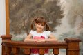 Children s portrait of cute smiling little girl with pigtails Stock Photo