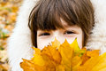 Children s portrait of a young girl on the background of autumn leaves Royalty Free Stock Images