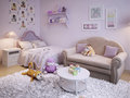 Children s room for girls classic style d visualization Royalty Free Stock Image