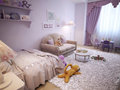 Children s room for girls classic style d visualization Royalty Free Stock Photo