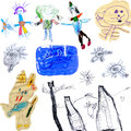 Children s scribbles collections of originals from a three year old child Royalty Free Stock Photography