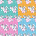 Children s seamless pattern set. Cute little pink magical unicorn with wings among the stars. Delicate, pastel colors