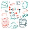Children`s set of outline drawings of backpacks and school things