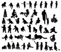 Children's silhouettes Lory Royalty Free Stock Photography