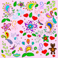 Children's summer background with bears and hearts.