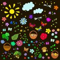 Children`s summer pattern with flowers, leaves,