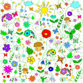 Children's summer pattern with flowers, leaves, mushrooms, sun, clouds, dragonflies, bees, stars and butterflies Royalty Free Stock Photo