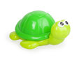 Children s toy green turtle isolated on white background Royalty Free Stock Images