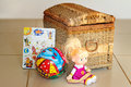 Children s toys and the container for their storage beautiful doll ball book are located near of Stock Photo