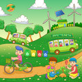Children save our green world eps file simple gradients Royalty Free Stock Image