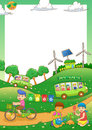Children save our green world frame eps file simple gradients Stock Photo