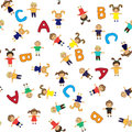 Children school pattern seamless babies cartoons backgrounds Stock Image