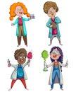 Children scientists set. Cartoon characters.