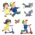 Children on scooters and cat isolated objects happy smiling walking ride with a a bird Stock Photos