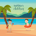 Children Sea Vacation. Girls and Boys Playing on the Beach Royalty Free Stock Photo