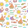 Children seamless pattern with doodle beach elements - sea, sun,