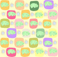 Children seamless pattern with hippopotamus vector illustration Royalty Free Stock Photography
