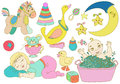 Children set with toys and baby beautiful cute collection Royalty Free Stock Image