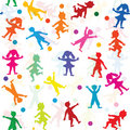 Children silhouette playing pattern Royalty Free Stock Photos