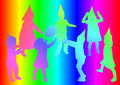 Children silhouette of who plays on rainbow background Royalty Free Stock Photos