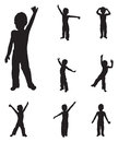 Children silhouettes dancing Stock Photo