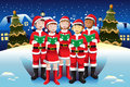 Children singing in christmas choir a vector illustration of happy kids Royalty Free Stock Image