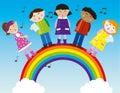 children singing on the rainbow vector