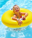 Children sitting on inflatable ring in swimming pool Royalty Free Stock Image