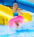 Children sitting on inflatable ring in swimming pool Royalty Free Stock Photos