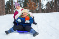 Children on sleds in snow cute sister and brother forest focus the boy Royalty Free Stock Images
