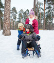 Children on sleds in snow cute sister and brother forest focus the boy Stock Photography